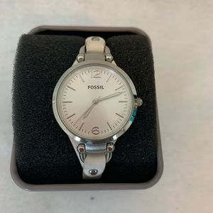 Fossil watch  thin white leather strap